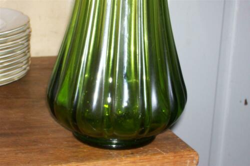 """Large L.E. Smith Stretch Swung Floor Vase Olive Green 21"""" MCM"""