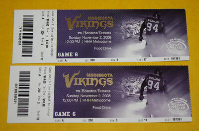 Minnesota Vikings Ticket Stub   November 2 2008   Andre Johnson Adrian Peterson