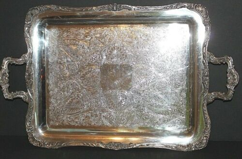 VTG WM Rogers Silver Plate 24 Inch Handled Serving Tray 290