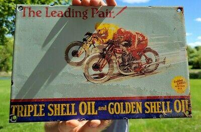 VINTAGE GOLDEN SHELL MOTORCYCLE GASOLINE PORCELAIN ENAMEL GAS STATION PUMP SIGN