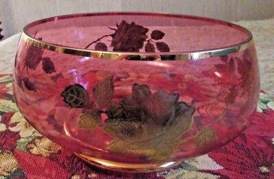 "BEAUTIFUL & VINTAGE ""Cranberry Glass Centerpiece Bowl"" 8""In Diameter 1970's"
