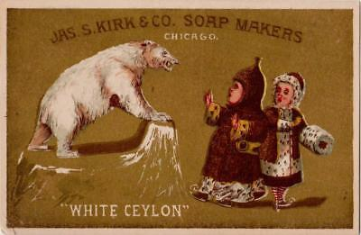 Polar Bear Attacks Skaters Jas S Kirk Co Soap Victorian Trade Card Chicago
