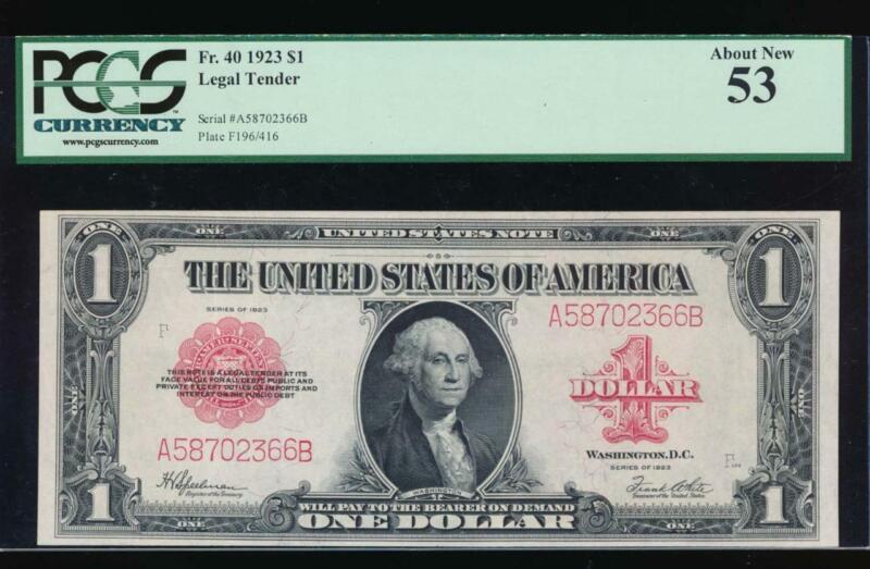 AC Fr 40 1923 $1 Legal Tender red seal  PCGS 53
