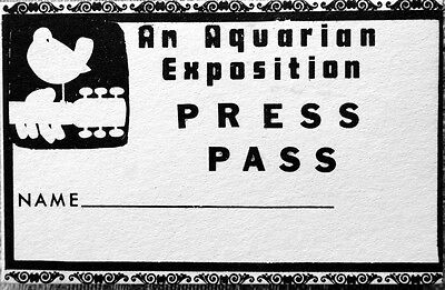 WOODSTOCK MUSIC FESTIVAL  PRESS PASS 1969 -  ORIGINAL RARE