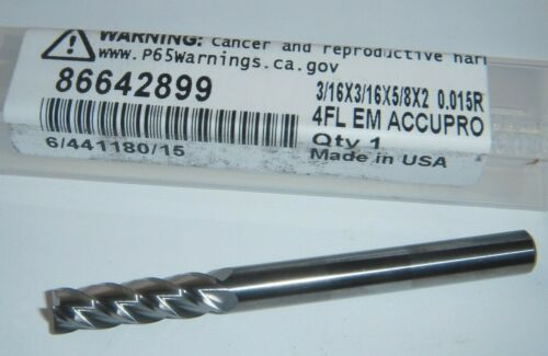 "NEW Accupro Carbide End Mill 4 Flute 3/16""x3/16""x5/8"" LOC x 2"" OAL.015R 86642899"