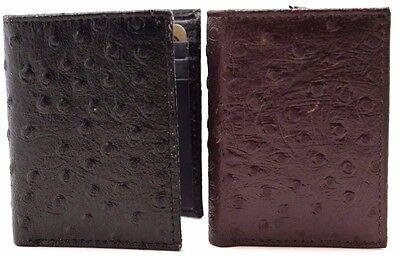 Men's Black Tri-Fold Wallet Emboss Ostrich Texture Brown 9 Credit Card Slot JTC (Ostrich Tri Fold Wallet)