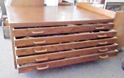 "Large Wooden 5 Drawer Flat File Med Oak - Plans Maps Prints Art Archive 31""x42"""
