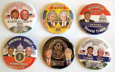 Donald Trump Mike Pence Inauguration 2017 Set Of Six Collectors Buttons 2 25