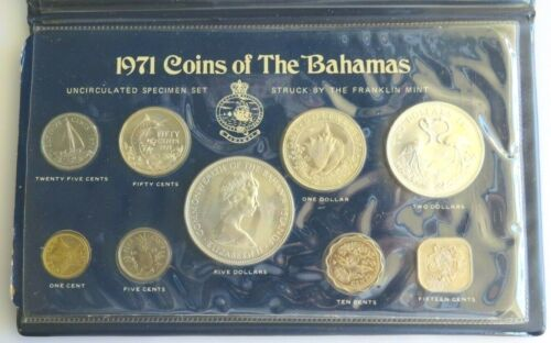 1971 Bahamas 9 Coins Uncirculated Mint Set with Sleeve and FM Cert.