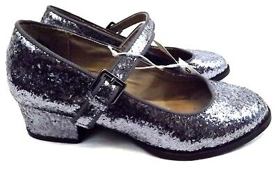 NWT OLD NAVY Girl's Shoes Loafers, Size US 3 M GRAY LITTER Mary Janes SPARKLE