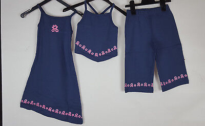 Top-set Capri (Kinder Kleid Top und Capri Hose Gr 116 122 3tlig Set blau Baumwolle 679 neu)