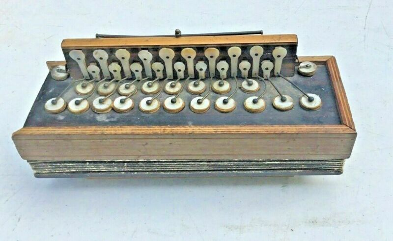 ANTIQUE ROSEWOOD FLUTINA SQUEEZE BOX ACCORDION WITH INLAY & MOP KEYS