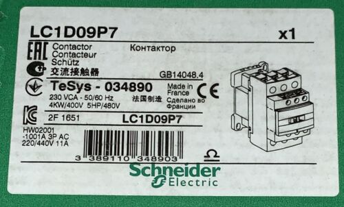 SCHNEIDER ELECTRIC LC1D09P7 3 Pole 230 V TeSys 034890 Contactor