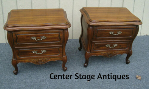61473  Pair French Country HICKORY CHAIR  Nightstand End Table Stands