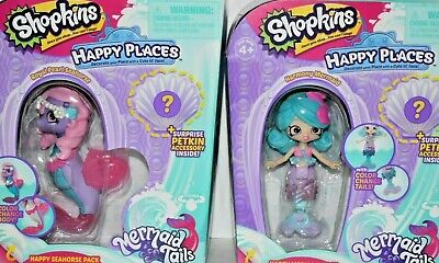 SHOPKINS HAPPY PLACES MERMAID TAILS SET ROYAL PEARL SEAHORSE & HARMONY NRFB