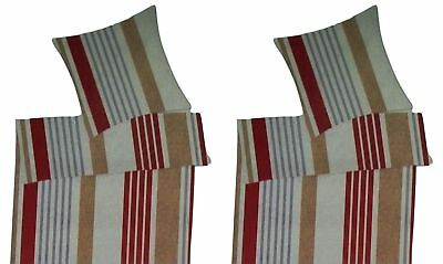 Villa Microfaser Bettwäsche Set 6 teilig 135 x 200 cm Rot gestreift