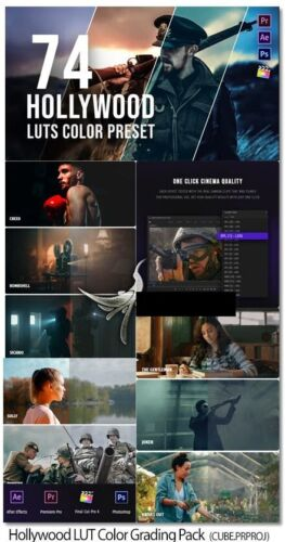 Hollywood LUT Color Grading Pack 74 professional LUTs color presets pack