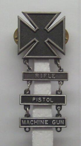U.S. Army Basic Qualification Marksman Badge with RIFLE PISTOL MACHINE GUN BARS