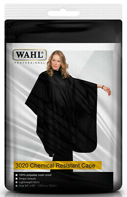 Wahl Chemical Resistant Cape Barber Salon Hair Cape Water Proof (Black) ()