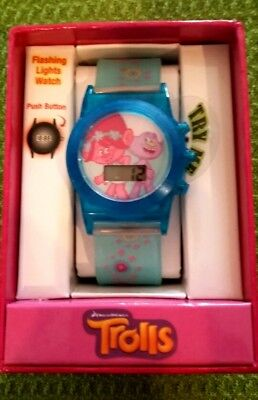 DreamWorks Trolls Flashing Lights Watch with Rubber/Silicone Accutime BRAND NEW