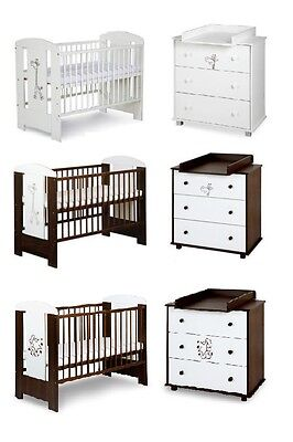 BABY NURSERY FURNITURE SET COT +CHEST OF DRAWERS+CHANGING TABLE WHITE OR WALNUT