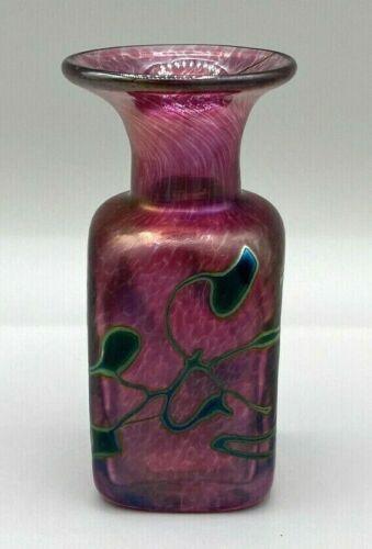 """Robert Held Hand Blown Art Glass Vase, Bottle 4"""" tall, Signed & Orig. Label"""