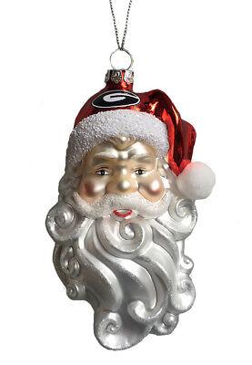 Georgia Bulldogs Glass Santa Head Christmas Ornament