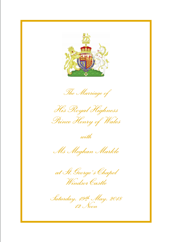 Royal Wedding Official Order of Service. Harry and Meghan.. - PDF