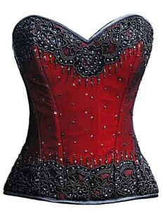 Red Satin Black Sequin overbust corset