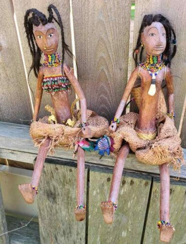 AFRICA NAMJI CARVED WOOD JOINTED w/BEADED JEWELRY AFRICAN COUPLE DOLL STATUES