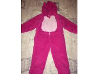 Girls Pink Fluffy Onesie Age 6-7