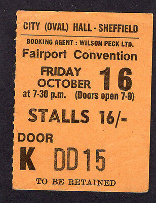 1970 Fairport Convention concert ticket stub Sheffield UK