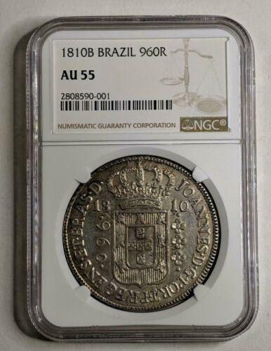 1810B Brazil Silver 960R NGC AU55