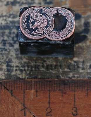 Medaille REPUBLIQUE FRANCAISE FRANCE Galvano Druckstock Drucken Kupferdruckstock