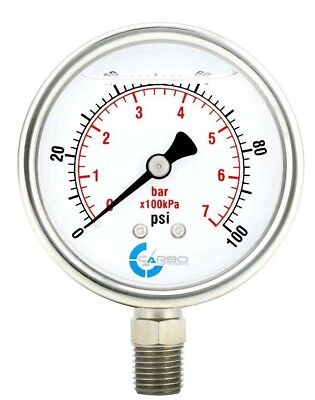 2-12 Pressure Gauge Stainless Steel Case Liquid Filled Lower Mnt 100 Psi