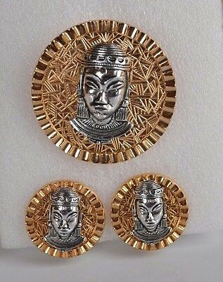 Vintage set silver & gold queen head Egyptian revival 3D earrings & brooch pin