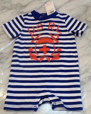 NWT, Baby Boys Ralph Lauren Blue Striped Logo Shorts Romper 3M, 100% Cotton