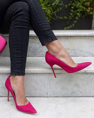 soldout NIB $595 Manolo Blahnik BB Pumps shoes Suede Fuxia Fuchsia Pink 38.5 8.5