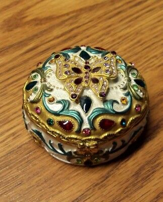 Crystal Jeweled Enamel Hinged Jewelry Trinket Box ~ BEJEWELED BUTTERFLY ()