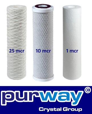 Osmose Filter 3er-Set 25-10-1 Mikron für 1. bis 3. Stufe Umkehrosmose - Stufe 3 Wasser