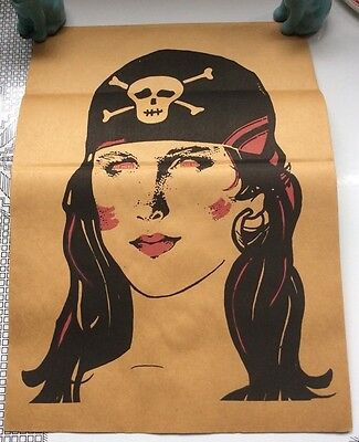 Vintage Topstone Brown Paper Bag Halloween Mask Lady Pirate Folded Unused - Paper Bag Halloween Mask
