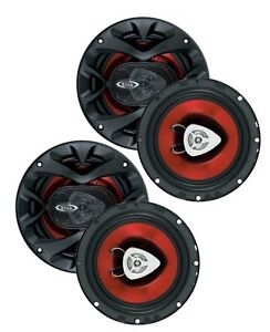 "4) New BOSS CH6520 6.5"" 2-Way 500W Car Coaxial Audio Speakers Stereo Red 6 1/2"""