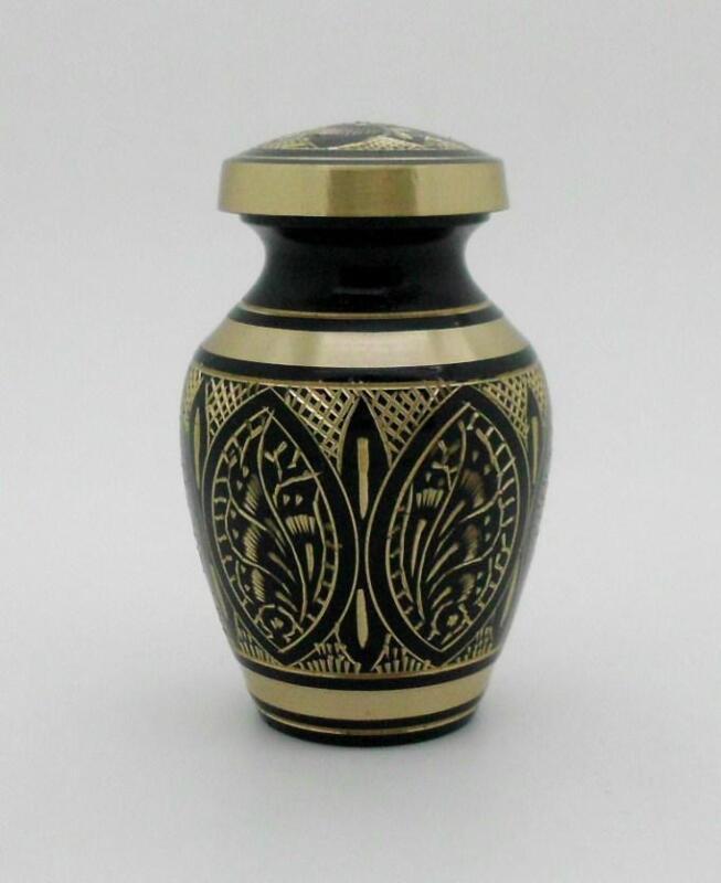 "Solid Brass 3"" Hand Crafted Artisian Memorial Cremation Keepsake Funeral Urn NIB"