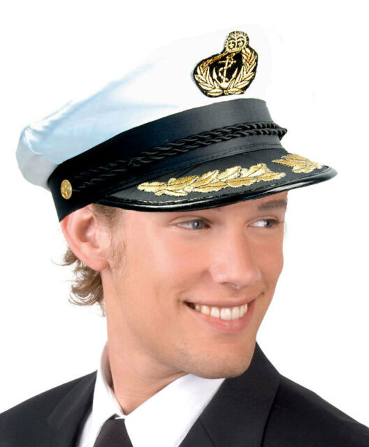 SAILOR HAT CAPTAINS CAP OFFICER ROYAL NAVY DELUXE FANCY DRESS BLACK & WHITE NEW