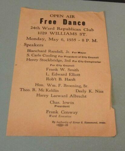 1935 Baltimore Maryland 24th Ward Republican Club Dance Flier Theodore McKeldin