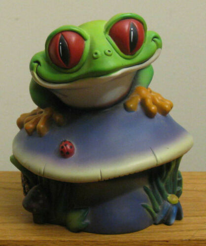 """RAINFOREST CAFE """"Cha Cha the Tree Frog"""" 7 1/2"""" PIGGY / COIN BANK"""
