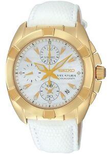 Seiko SNDY22 SNDY22P1 Velatura Ladies Diamond Watch White Leather RRP $1200.00