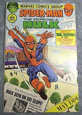 Vintage Comic 1982 Spiderman Incredible Hulk Denver Post Insert Colorado Caper
