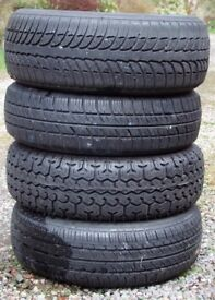 4 x mixed brand new and low mile all terrain (M+S) tyres for sale