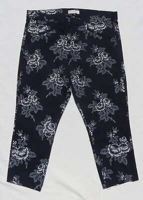 Cotton Twill Printed Capri - GAP ULTRA SKINNY Blue White Rose Print Stretch Cotton Twill Capri Pants sz US 14